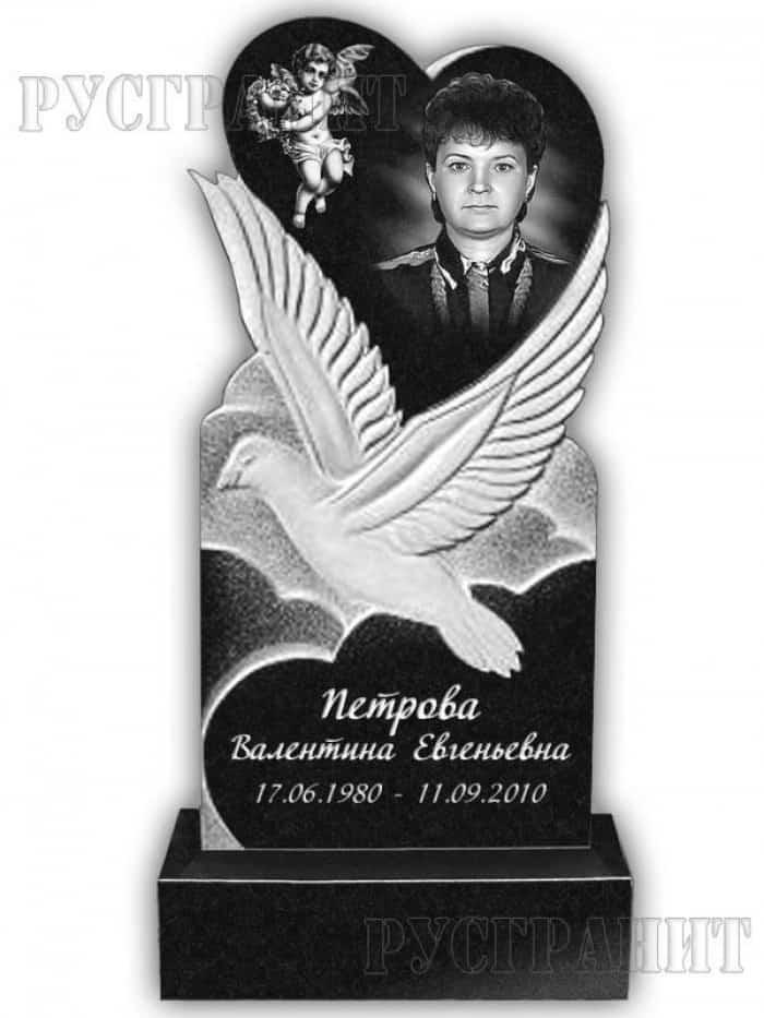 Сердце в ладонях на памятнике на могилу Эконом памятник Купола с профильной резкой Гороховец