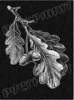 Рисунок на памятнике - листья дуба
