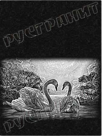 Рисунок на памятнике - лебеди